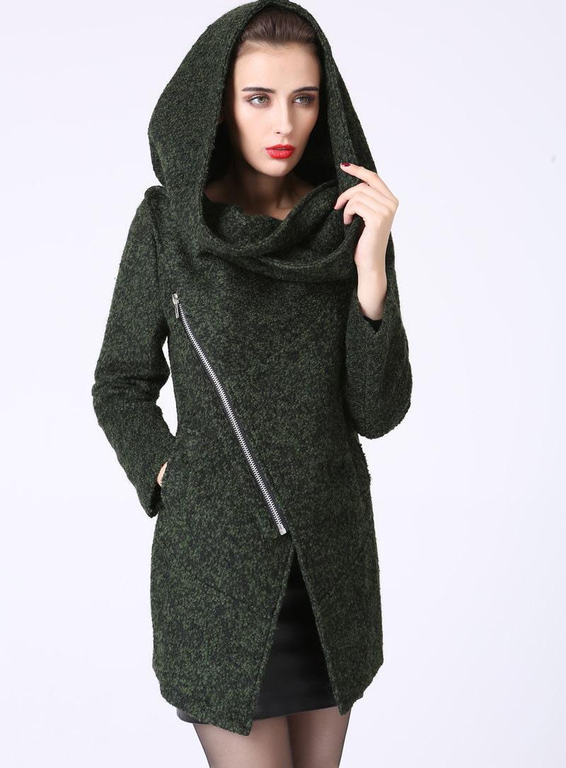 asymmetrical coat short jacketWool Coatwool jacket by xiaolizi