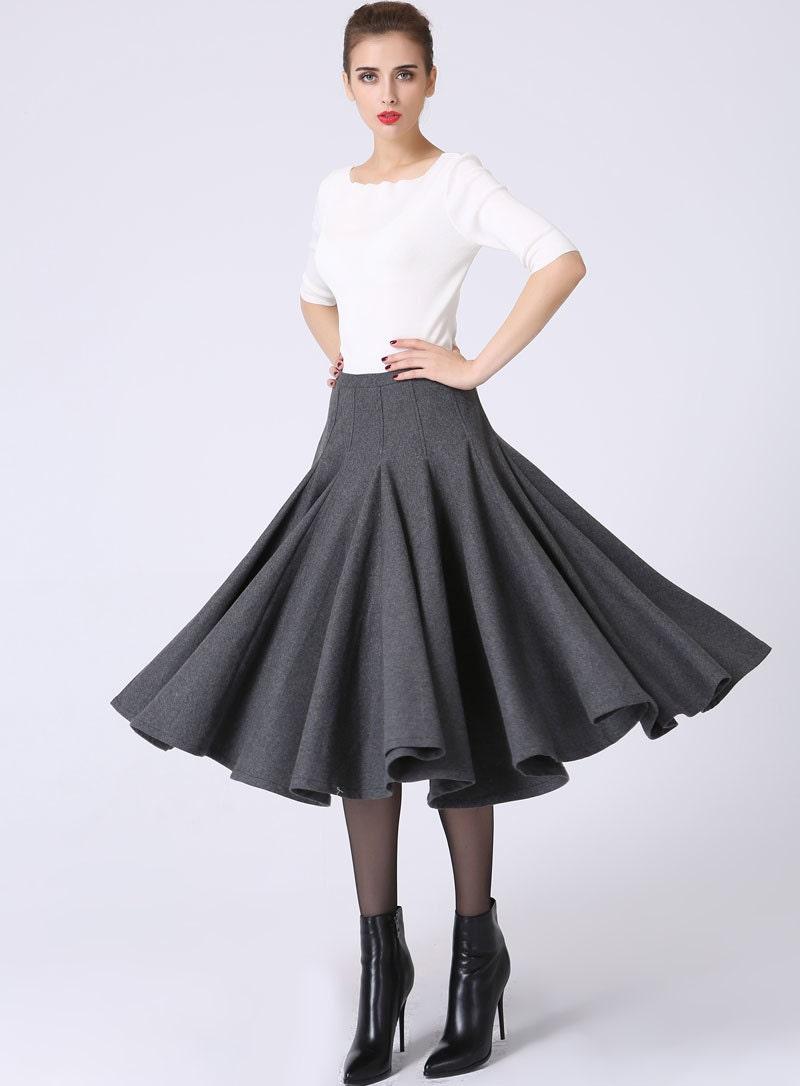 wool skirt womens skirts ruffle skirt pleated skirt gray