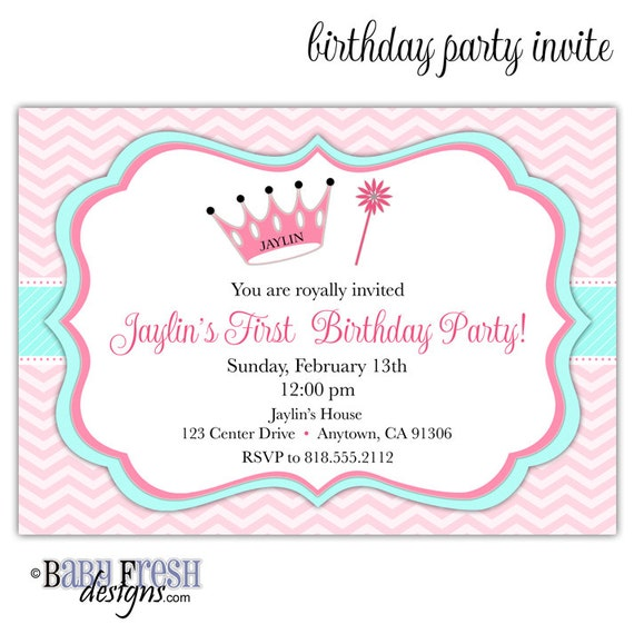 Princess Birthday Invitation Princess Invitation Princess - Birthday party invitation reminder