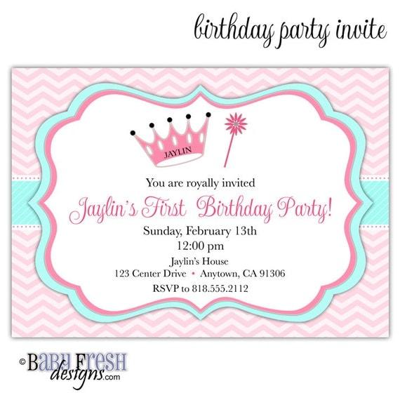 Princess Birthday Invitation Princess Invitation Princess - Birthday party invitation reminder
