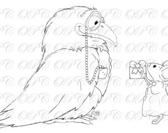 Digital Stamp Raven and the Mouse