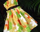 Girls Handmade Hawaiian Pa'u Hula Skirt Set Yellow Plumeria