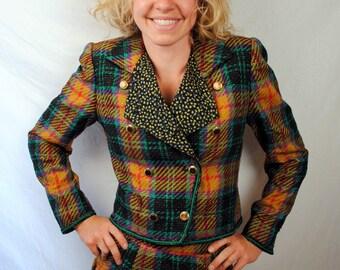 Vintage 80s Designer 1980s Emanuel Ungaro Parallele Suit Skirt Plaid Blazer Jacket