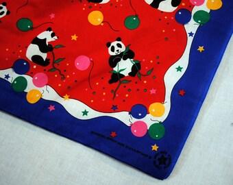 Vintage 80s Panda Bear Balloon Bandana