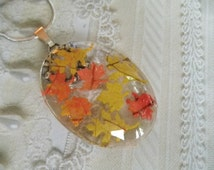Autumn Leaves-Oval Glass Pendant w/ Miniature Ombre Maple & Oak Leaves-Nature's Wearable Art-Gifts 30 And Under-Symbolizes Strength, Courage
