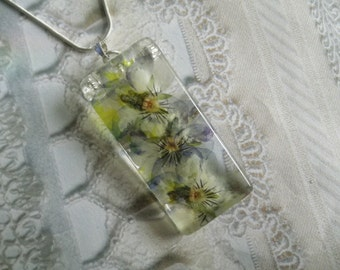 Pastel Pansies Pressed Flower Watercolor Like Glass Rectangle Pendant-Nature's Wearable Art-Symbolizes Loyalty-Gifts  For 30