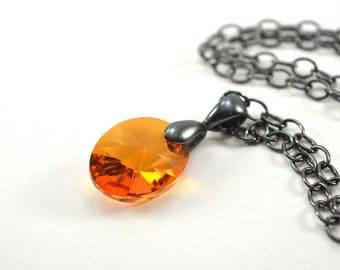 Cirtine Pendant Necklace Orange Crystal Pendant Oval Modern Gunmetal Dark Silver November Birthstone