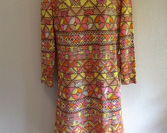 Vintage Hippie, Love Child, Flower Power, POP art dress from 1960.  New old stock.  Leslie Fay.