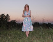 Vintage 80s does 50s Summer Day Dress Southwestern Pastel Colors Retro Full Skirt Fitted Waist Low Cut V Neck Womens Large
