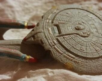 Vintage Star Trek Next Generation Stationery Eraser Proto Type Only One U.S.S. Enterprise Decals Handpainted