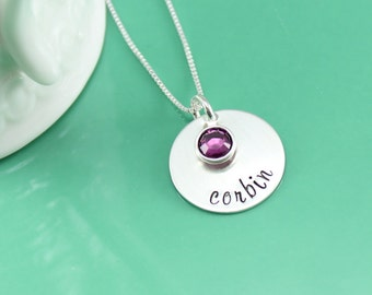 Name Necklace - Personalized Name Necklace - Mommy Jewelry - Hand Stamped Jewelry - Sterling Silver Necklace with Birthstone Crystal