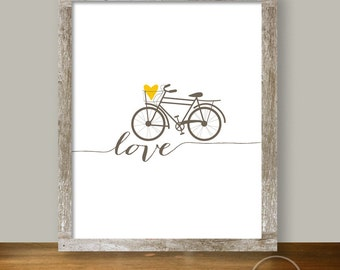 Bicycle Love Printable in Brown and Mustard 8x10