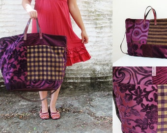 Anywhere but Here Weekender - Purple plum Leather, Velvet Luggage