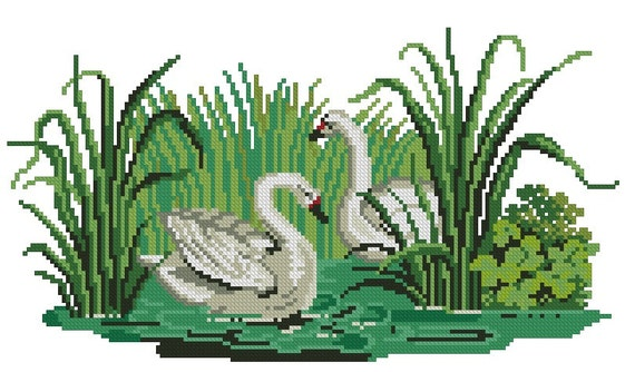 Swans antique cross stitch pattern