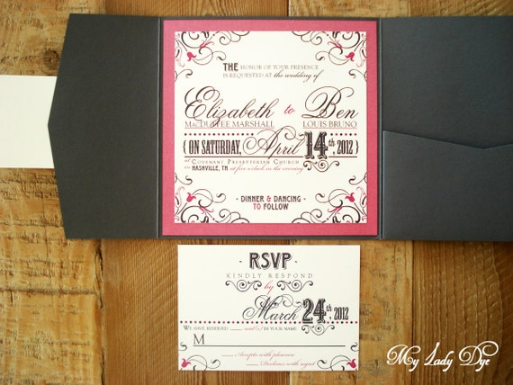 100 Vintage Modern Nashville Wedding Invitations - The Libby Collection - Scroll, Heart, Vintage Floret - By My Lady Dye