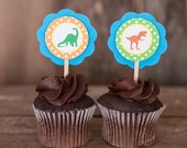 Dinosaur Baby Shower Cupcake Toppers - Baby Shower Decorations - Dinosaur Cupcake Toppers - Dino Theme Baby Shower (12)