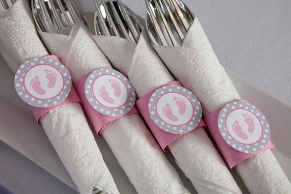 Items similar to napkin rings pink baby feet theme it for Baby feet decoration