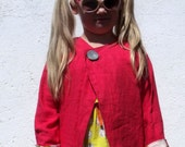 Sale Half Price Bright Pink Linen and Floral Cotton Reversible Jacket Age 5