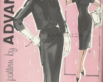 Vintage 60s Fitted Dress Pattern and Tie Collar Short Jacket Wiggle Dress Sheath 1961 Advance 9967 Bust 37