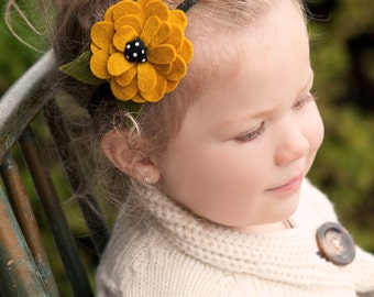 Mustard Yellow Felt Flower Headband with black Elastic Band