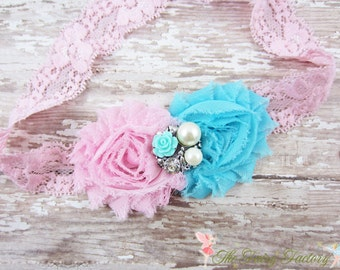 Aqua and Pink Flower Headband, Chiffon Flowers w/ Pearl & Rhinestone Center Lace Headband or Clip, Newborn Baby Child Girls Headband