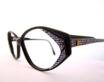 1980s 1990s Designer Eyeglasses // 80s 90s Cats Eye Frames // Pearlised Blue Black and Gold Frames // Rhinestones // France // M. Lorence