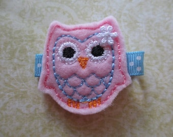 Pink and Blue Owl Felt Hair Clip