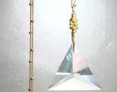 Feminine Power, Divine Principal, Swarovski Crystal Pendant, Gold Necklace, Triad, Trinity, Goddess Symbol, Triangle, Female Symbolism LOVE,