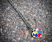 Autism Awareness Necklace - Puzzle Piece Heart - Small