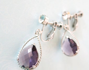 Mabel Clip On -  Amethyst Purple Glass Teardrops Clip-on Earrings, non-pierced earrings, wedding Bridal Bridesmaid Earrings, Bridesmaids