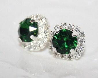 Emerald Swarovski Earrings,Green Stud Earrings,Green Crystal studs,Rhinestone Silver Stud Earrings,Emerald Ear Studs,Sparkling Jewelry