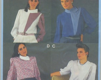 Dressy Geometric Blouse Sewing Pattern Size 8 10 12 14 16 18 Burda 7211 UNCUT  Women's Plus Size, Button on Shoulder, Collar, No Collar