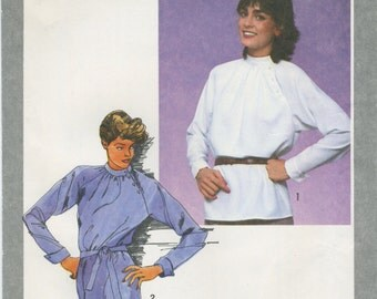 Belted Tunic Top Blouse Sewing Pattern Size 12 Simplicity 9471, UNCUT, Gathered Neckline, Stand-up Collar, Asymmetrical Button Collar