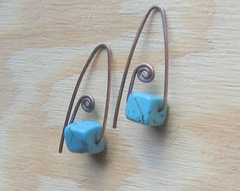 Back to Square One, Turquoise Cubes on Copper Earwires