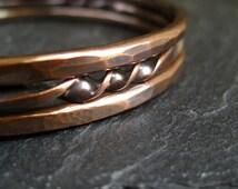 Copper Bangle Bracelets, stacking bangles, twisted copper, hammered copper bracelets, copper bangles, copper wedding anniversary gift, metal
