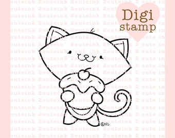 Sugar and Spice Kitty Digital Stamp for Card Making, Paper Crafts, Scrapbooking, Hand Embroidery, Invitations, Stickers, Cookie Decorating