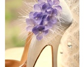 Shoe Clips Lavender. Lime Green / Pink & White or Ivory Feathers, Spring French Shabby Chic Gift, Elegant Statement. Bride Bridesmaids Shoes