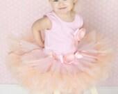 Baby Girls Birthday Tutu Dress Outfit, Peach Pink Blossom Baby Tutu Dress