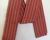 1980s STRIPED Earth Tones SILK OBI Japanese Kimono Sash