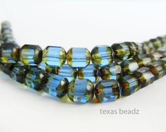 5 Strands of Blue Czech Picasso Beads, 22pcs, 8mm Glass Beads, Barrel Beads, Cornflower Blue, Denim