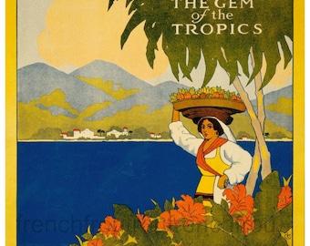 vintage art deco travel poster jamaica caribbean island digital download