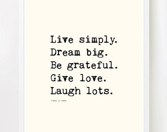 """Live Simply - 8x10"""" on A4. Typewriter, Happiness, Love, Life, Gratitude, Dream Big, Inspiring quote"""