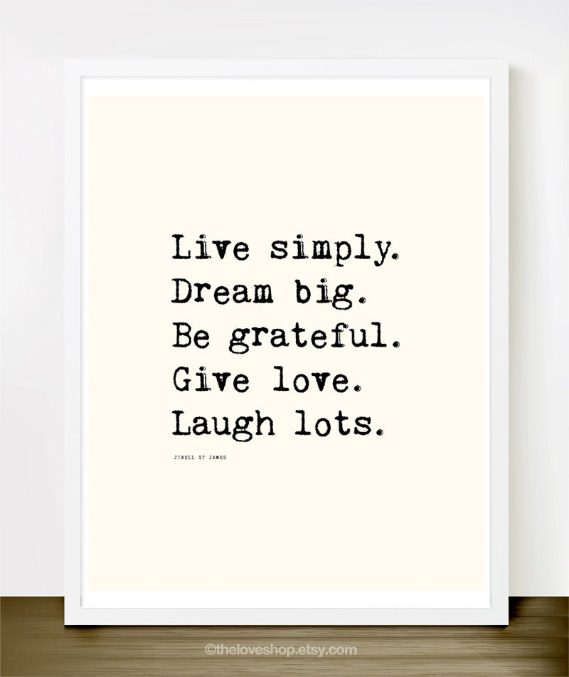 Live Laugh Love Dream Quotes: Live Simply 8x10 On A4. Typewriter Happiness Love