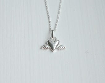 Heart angel wings necklace - sterling silver guardian angel pendant - protection talisman memorial - little girl - simple jewelry - Tilly