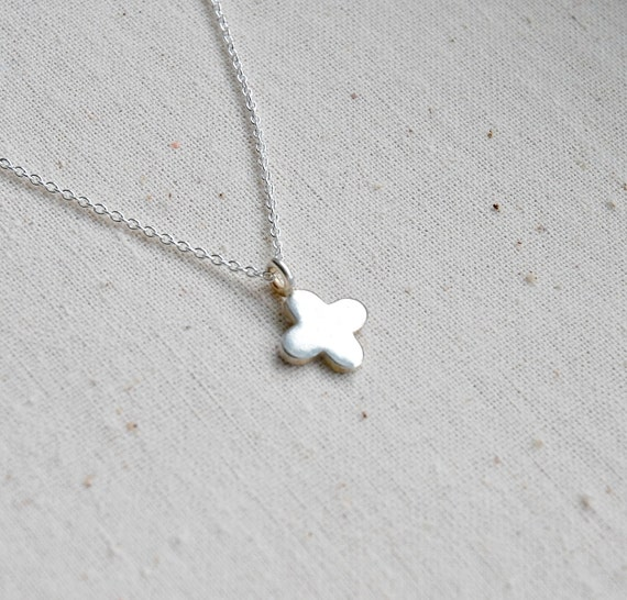 Silver cross necklace - tiny sterling silver quatrefoil - silver flower pendant - silver star - clover - flower girl simple jewelry - Anais