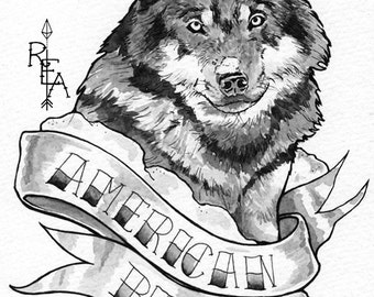 Wolf Tattoo - Original Pen and Ink Drawing - Black and Gray - Original Art - Watercolor Painting
