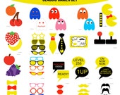 Instant Download Pac Man Inspired Pacman Classic Video Games Gaming Gamer Old School Retro Birthday Party Printable Photo Booth Props