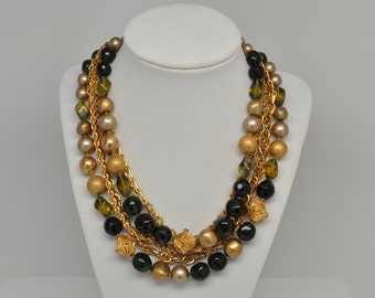 Vintage Signed DEMARIO Multi-Strand Olivine and Gold Necklace