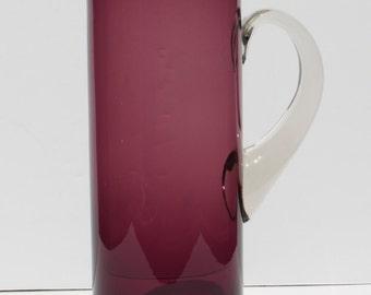 Vintage Hand Blown Mid Century Modern Art Glass Purple Amethyst Glass Pitcher