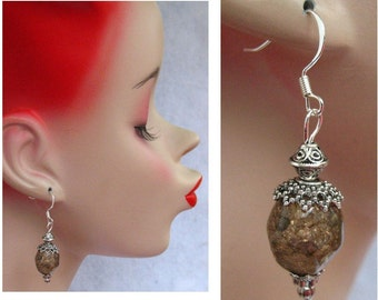 Silver & Mocha Cracked Glass Beaded Earrings Handmade Jewelry Accessories